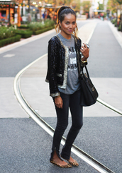 sincerely jules,jacket,t-shirt,jeans,shoes,sequins,sequin jacket,gold,black sequin,black,fashion,gold sequins