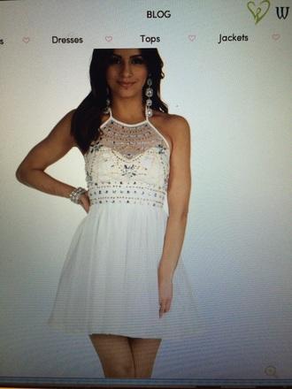dress prom beaded dress white dress short dress