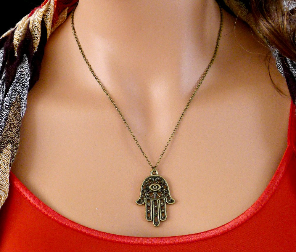 Hamsa Hand Necklace, Antique brass charm pendant, Fatima, amulet jewelry, lucky gift, by balance9