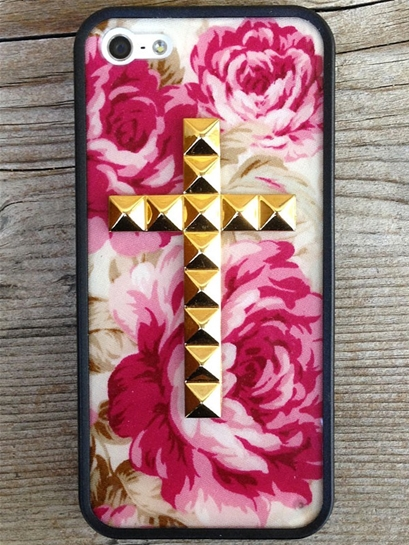 Wildflower Cream Floral Gold Studded Cross iPhone 5/5s Case