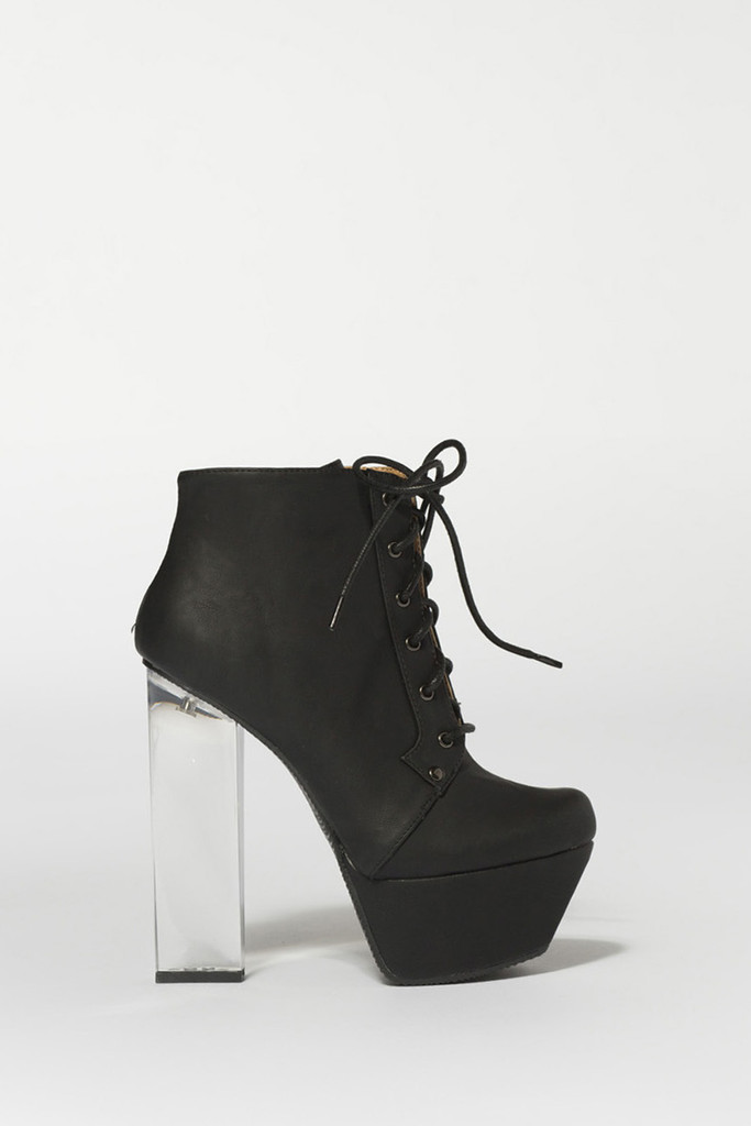 Towering Black Lace-Up Boots | Obsezz