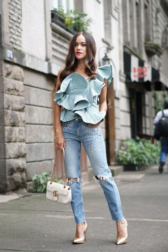 top ruffled top tumblr ruffle asymmetrical asymmetrical top denim jeans embellished pumps bag white bag
