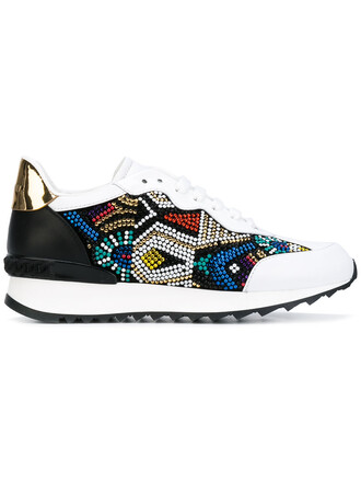 women embellished sneakers leather white shoes