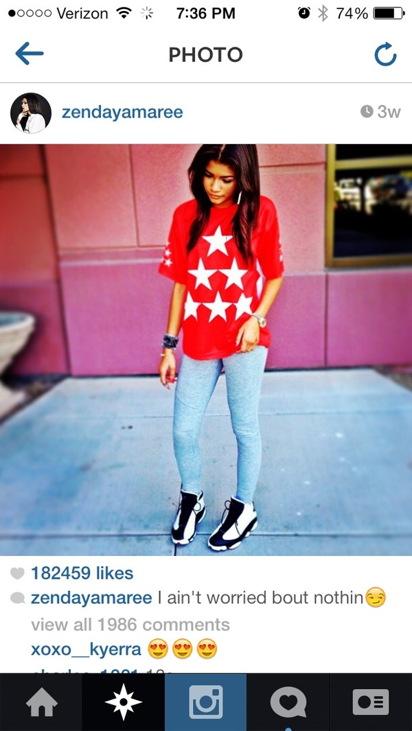 shirt red zendaya bright red t-shirt 6 star shirt six star shoes