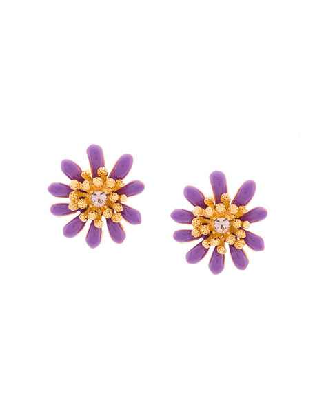 oscar de la renta women earrings stud earrings floral purple pink jewels