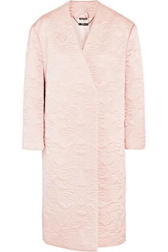coat pastel quilted silk pink pastel pink
