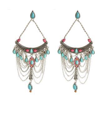 Silver and Blue Stone Drape Earrings