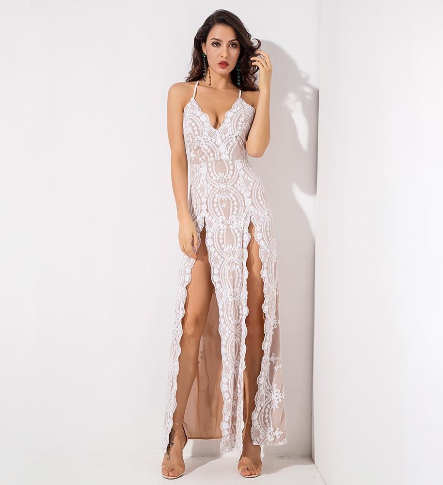 sequin split leg maxi dress