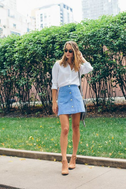 skirt blue suede skirt blue skirt suede skirt mini skirt shirt white shirt sunglasses ankle boots nude boots