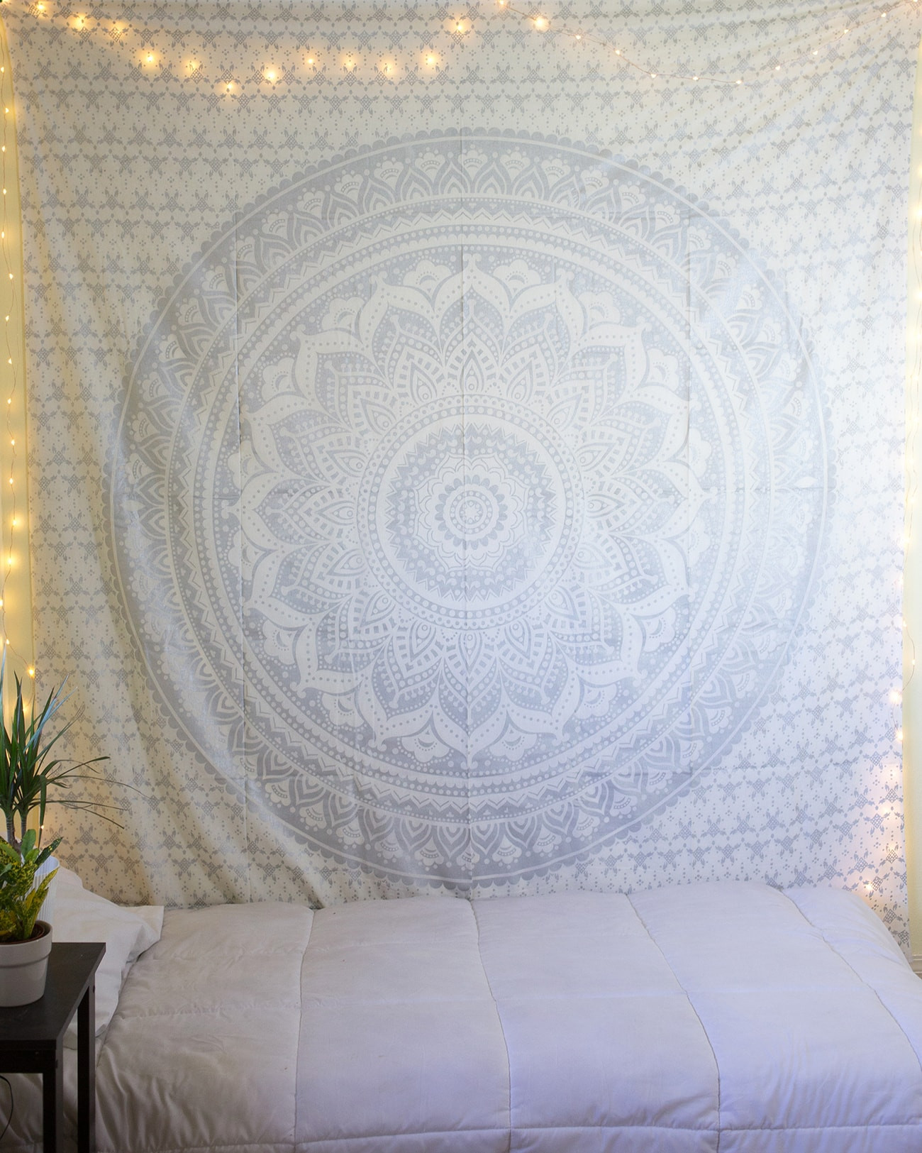 Twin Silver Glittering Color Floral Trippy Ombre Medallion Mandala Wall Tapestry - RoyalFurnish.com