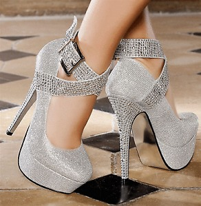 DIAMANTE HIGH HEEL ANKLE STRAP PLATFORMS BRIGHT CRYSTAL BUCKLE ...