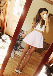 skirt,celebrity,ariana grande,bandeau,bralette,tank top,shoes,kenley collins,pink skirt,pastel pink,pink,top,shirt,white top,white tank top,crop tops,mini skirt,white heels,pretty,cute skirt,blouse,cute,skater skirt,girl,white crop tops,dress