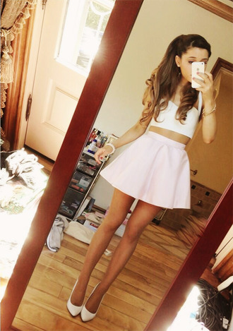 skirt celebrity ariana grande bandeau bralette tank top shoes kenley collins pink skirt pastel pink pink top shirt white top white tank top crop tops mini skirt white heels pretty cute skirt blouse cute skater skirt girl white crop tops dress
