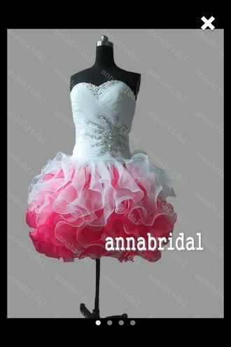 dress pink dress tulle dress beaded dress prom dress short prom dress pink prom dress white dress strapless dresses style