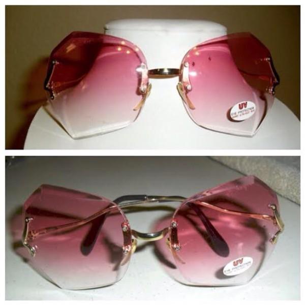 Pink Rimless Glasses : Sunglasses: pink, gradient, rimless, gold, vintage ...