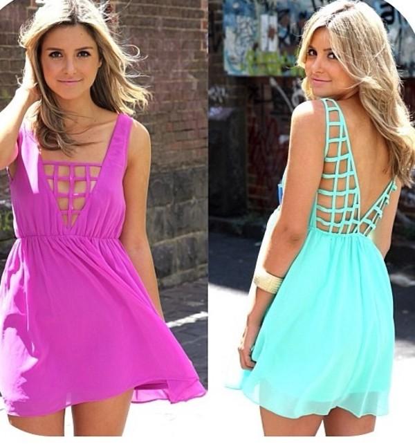 dress mini dress teal dress backless dress
