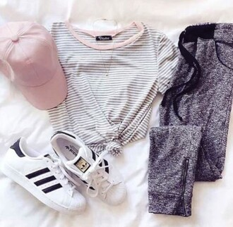 shirt pink cute trendy grey jeans hat pastel