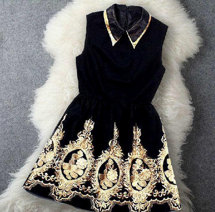 Embroidery lapel cute dress
