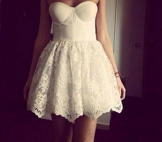 vintage indie dress poofy lace dress bridesmaid white dress strapless corset dress