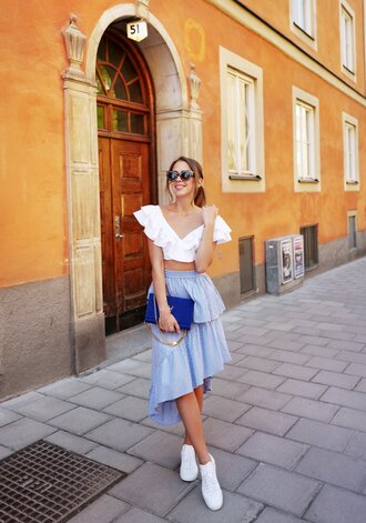 kenza blogger skirt top shoes bag sunglasses ruffle crop tops ysl bag ysl sneakers blue skirt blue bag spring outfits summer outfits asymetrical skirt