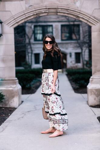 sequins and stripes blogger blouse skirt belt bag sunglasses maxi skirt floral skirt ballet flats