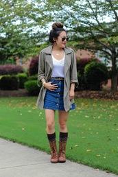 gracefullee made,blogger,skirt,top,jacket,shoes,jewels,make-up,sunglasses,belt