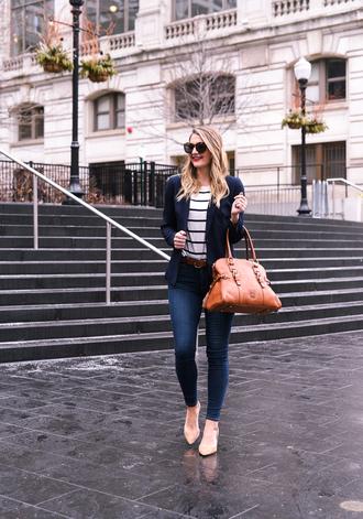 visions of vogue blogger jacket t-shirt jeans bag belt shoes sunglasses jewels orange bag skinny jeans blazer