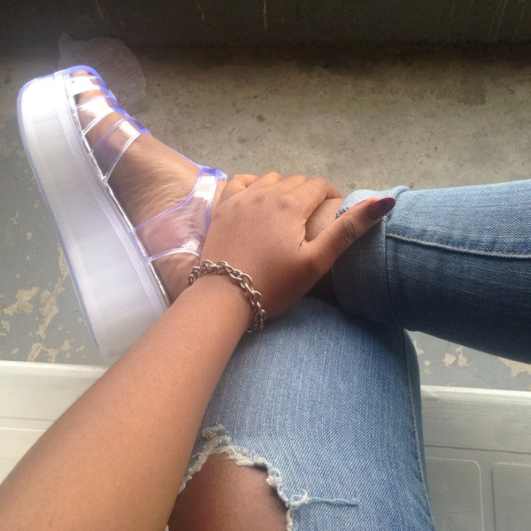 Wanted Shoes Jelly Pop Clear Platform Sandal