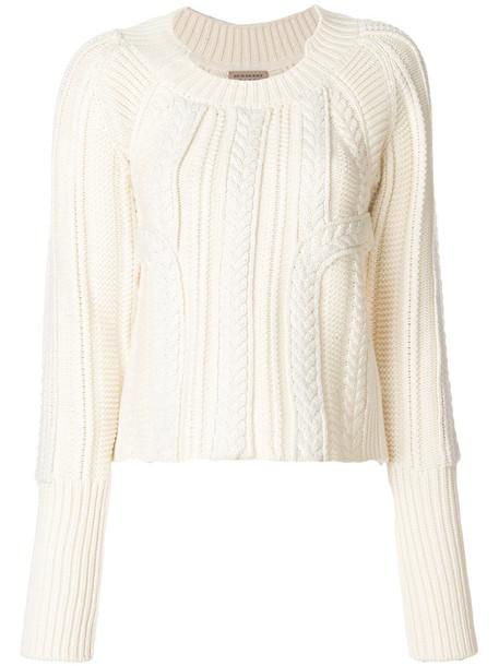Burberry sweater women white wool knit