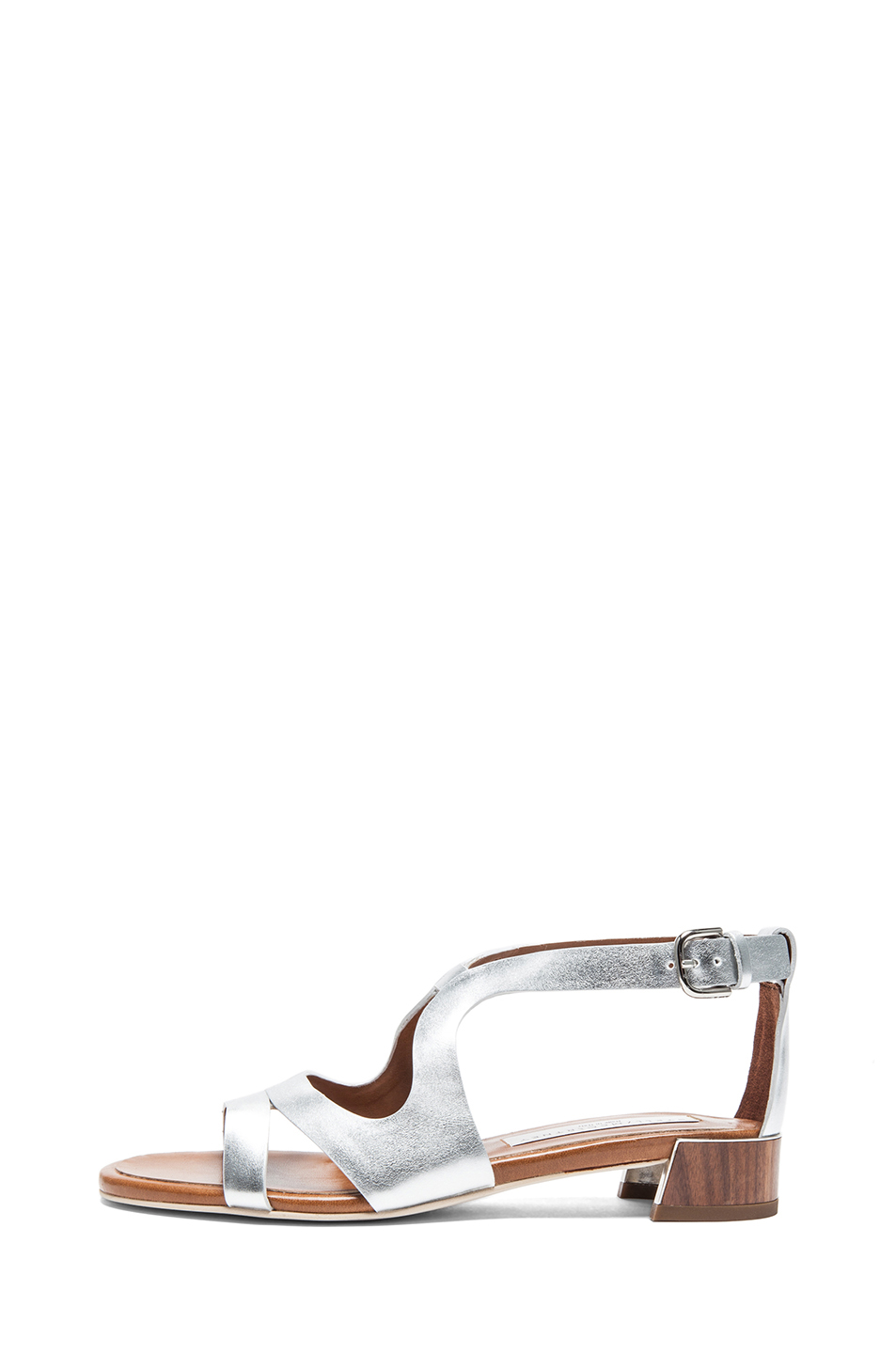 Stella McCartney|Faux Leather Flat Sandal in Silver