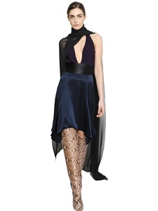 Two tone silk charmeuse dress