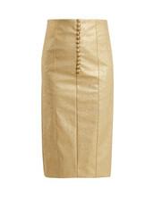 skirt,pencil skirt,leather pencil skirt,metallic,gold,leather