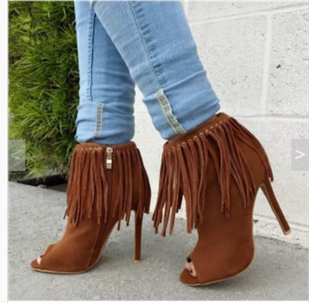 Shoes: heels, booties, fringes, brown, cute, suede boots - Wheretoget