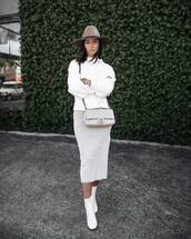 shoes,boots,white boots,ankle boots,crop top midi skirt,skater skirt,satin,sweater,knitted sweater,white sweater,hat,crossbody bag