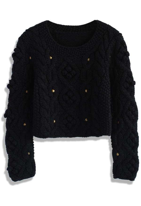 chicwish black sweater cropped sweater winter sweater cable knit