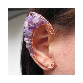 jewels purple ear cuff ear piercings fantasy gemstone