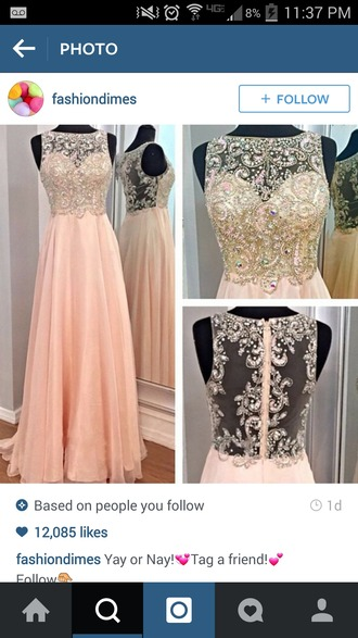 dress clothes prom dress prom long dress long dresses peach dress rhinestones