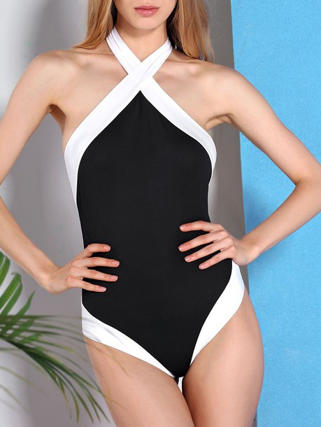 Swimwear: summer, beach, black and white, one piece ...