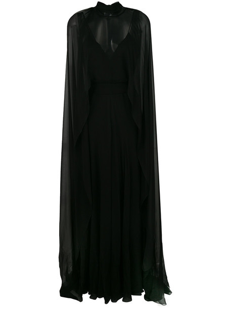 Alberta Ferretti gown sheer women black silk dress