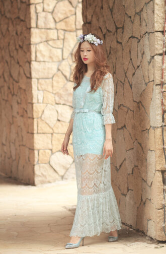 mellow mayo blogger dress lace dress mint dress romantic valentino