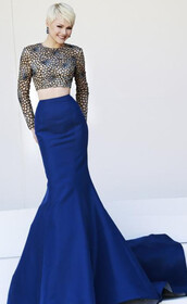 loyal blue dress,mermaid prom dress,lace dress,applique dress,embroidery dress,long sleeve dress,satin dress,evening dress,red carpet,2014 dress,saledress,new dress,fall dress,dress