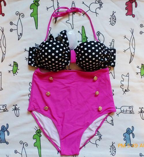 Black Retro Swimsuit Swimwear Vintage Push Up Bandeau High Waisted Bikini Set   eBay