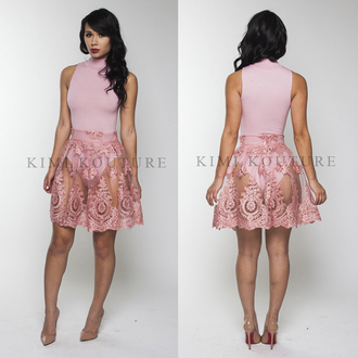 skirt pink see through turtleneck lace skirt