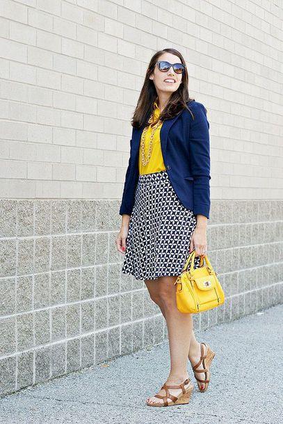 cdb2ba544b jacket yellow shirt blue blazer black and white checkered skirt yellow  handbag platform shoes blogger
