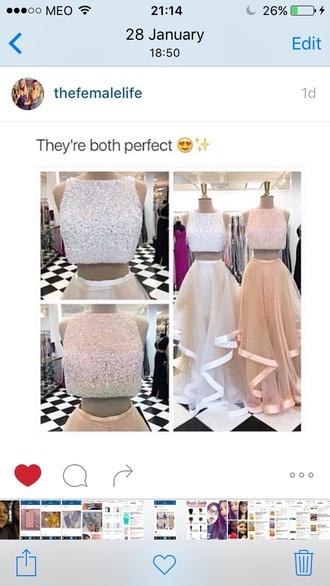 dress pastel glitter crop tops crop dress skirt prom