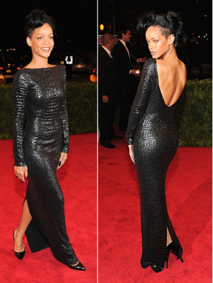 rihanna dress formal dresses low back dress black
