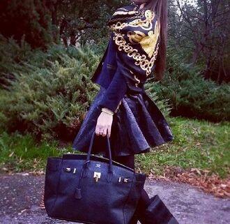 skirt scarf black scarf leather skirt