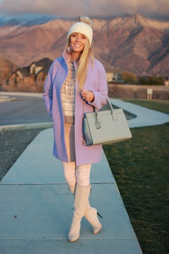 birdalamode blogger coat sweater hat jewels shoes pants bag fall outfits beanie handbag grey bag knee high boots high heels boots travel j crew suede boots pink pants nordstrom kate spade