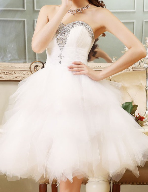 white dress sparkle sequin dress tulle dress fashion prom dress short dress short prom dress