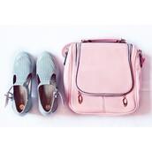 bag,pink,pastel,shoulder bag,zip,light blue,flats,blue shoes,pastel bag